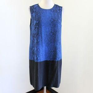 REBECCA TAYLOR  snakeskin colorblock shift dress